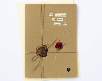 Lucky To Have You Romantic Handmade Wax Seal Dried Flower Greetings Card