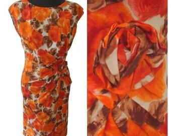 Orange Rose Print Wiggle Dress with Fabric Rose Detail • Vintage 1950s • Size 36 / UK8