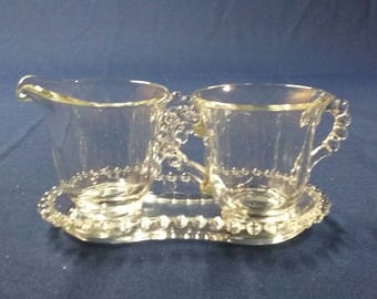 Imperial Candlewick Creamer and Sugar Bowl with Tray