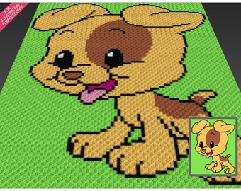 Happy Puppy crochet blanket pattern; c2c, cross stitch; graph; pdf download; no written counts or row-by-row instructions