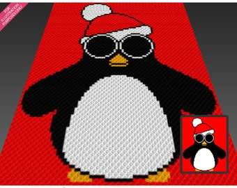 Christmas Penguin crochet blanket pattern; c2c, cross stitch; graph; pdf download; no written counts or row-by-row instructions