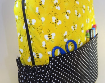 Yellow Bees Toddler Backpack with black and white dots