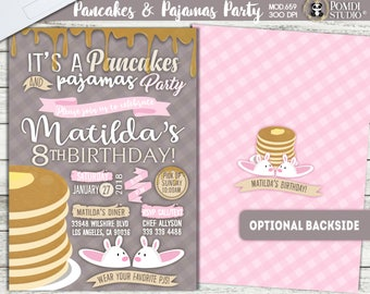 PRINTABLE or PRINTED   Pancakes and Pajamas Party!   Girl Birthday Invitation  Optional Backside &thank you cards   Any occasion,any wording