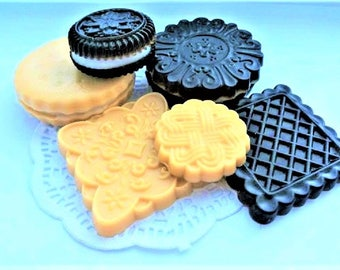 Cookies Soap Set-Dessert Soap-Food Soap-Fun Soap-Cookie Soap Crème Filled-Chocolate Cookie-Birthday Gift-Party Favor