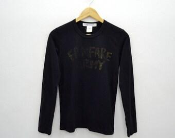 RARE!!! COMME des GARCONS Longsleeve Glitter Print FunFare Army Design Tee T Shirt Women's Size S