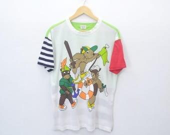 "Jean Charles de Castelbajac Shirt Vintage Jean Charles de Castelbajac Kids ""Animal Play"" Multicolor Tee Shirt Size S~M"