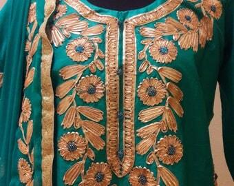 Fully stitched Ethnic  Rajasthani heavy Gotta Patti work Kurta and  Palazo set: FREE shipping in US