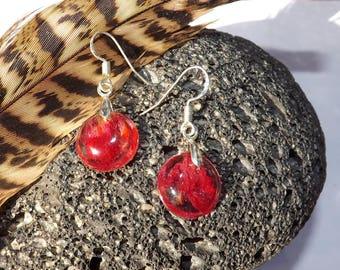 Ball of red rose petal earrings