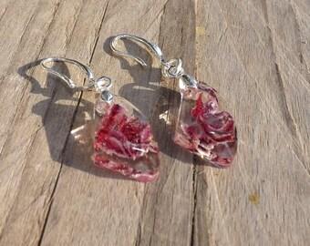 Resin flower petal earring