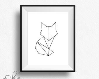 Geometric fox, geometric fox print, minimalist poster, fox print, fox art, geometric animal, geometric art, fox wall art, fox printable, fox