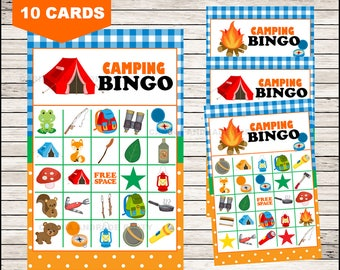 Camping Bingo 10 Cards Printable