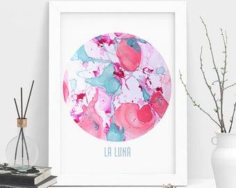 Marble La Luna Print-Home Decor, La Luna Art-Marble Art, Printable Art, Modern Wall Art, New Home Gift, Marble Digital Art, Instant Download