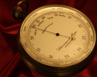Large Antique Victorian Oxidised Brass Pocket Barometer Altimeter by Lawrence Mayo with Short & Mason movement c1903