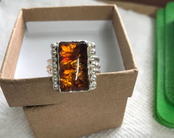 Sterling Silver Baltic Amber Ring size 7 1/4