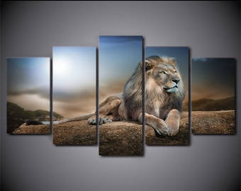 Lion Canvas Art, Lion Canvas Print, Lion Large Canvas Art, Lion Painting, Lion Wall Art,Lion Wall Decor, Lion Framed Canvas