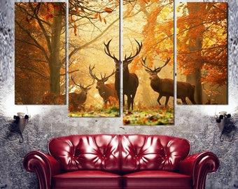 Deer Canvas Art, Deer Canvas Print, Deer wall Art, Deer Large Canvas, Deer Wall Decor, Deer Piece Canvas Print, Deer Canvas Art Framed