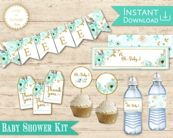 Exceptional BABY Shower Kit Flower Mint Gold Set Of Decorations: Editable Banner Flags  + Cupcake Toppers
