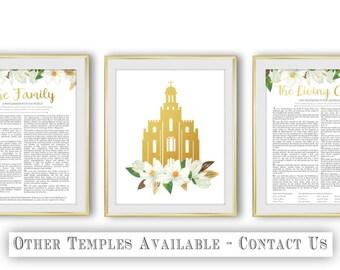 The Living Christ Logan Temple LDS The Family Proclamation Set of 3 Magnolia Flower Gold Digital Print Art Printable Art Wall Decor