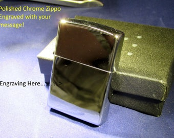 Zippo Lighter - High Polished Chrome - Engraved with your message! Personlise it to make it special!