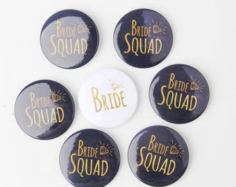 Bride Squad Pins, Bachelorette Party, Hen Night Badges, Bride Button, Black and Gold Badges, Last Fling, Bright White, Classy Bridal Shower