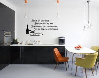 Linger at our table Kitchen Vinyl Wall Quote