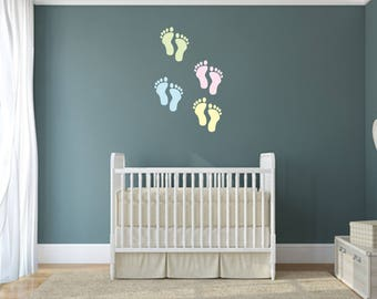 Set of 4 Baby Feet Multi-Colored Home and Family Vinyl Wall Quote