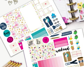 Princess Pig and Unicorn Theme Planner Weekly Sticker SMALL Kit, BIG Happy Planner Sticker, Weekly Set, Stickers, Printed, Cut, Wonderland