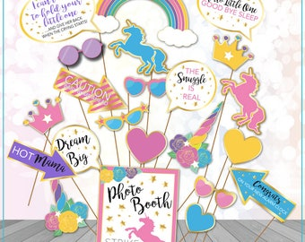 Unicorn Baby Shower Photo Booth Props Printable Unicorn Party Printables Magical unicorn Photo props