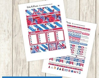 30% OFF SALE Stars and Stripes Printable Planner Stickers/Monthly Kit/Erin Condren/Cutfiles Fourth of July Independance Day Glam Stars Red B