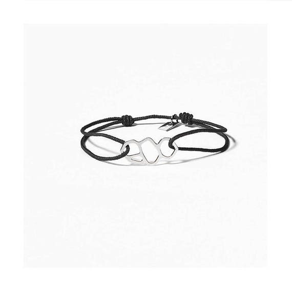 A DAY IN Marseille/Mucem, silver finish black link bracelet