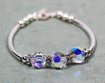 925 Sterling Silver Bracelet with 10mm Swarovski Crystal AB and Rondelle