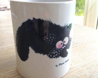 Mug ready to pounce on milk cat fun!