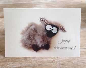 birthday card with sheep
