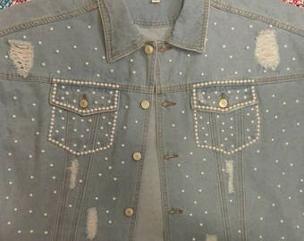 Women's Denim Jacket / Jean Jacket with Pearls / Distressed Denim