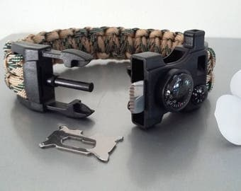 Kit of survival Paracord Bracelet, compass, thermometer.