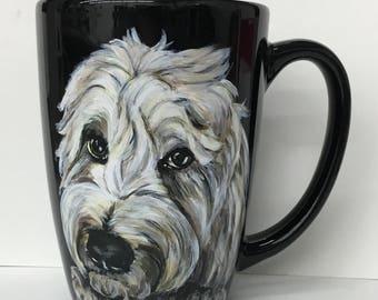 Custom hand painted pet portrait coffee cup