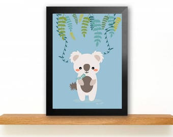 A4 Koala poster Children's Room picture Kids poster