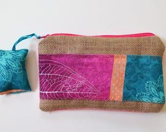 Makeup bag, multicolor, burlap