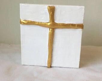 White Cross Decor, Cross Art, Cross Painting