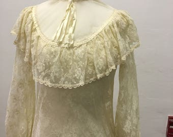 GUNNE SAX 1970's vintage  ivory  lace stand collar blouse size7