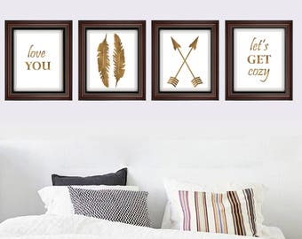 Love You Gallery Wall Print Set 4 Gold