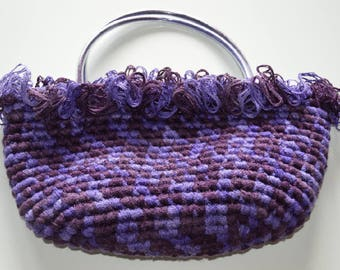 Purple ombre crochet handbag