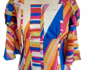 Vintage 70's Colorful Geometrical Shapes Maxi Dress, Disco Hippie Long Dress, Puff Top & Tlared Sleeves