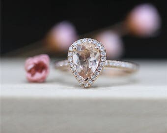Pear Cut Morganite Engagement Ring Stackable 14K Rose Gold 6*8mm Pink Morganite Ring Halo Diamonds Ring Gemstone Ring Promise Wedding Ring