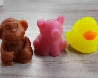 Baby Animal Soap, Kids Gift Set, Rubber Ducky, Piglet, Monkey, Jungle Theme, Safari, Farm,  Zoo, Decorative, Novelty Glycerin Soap (6 oz)
