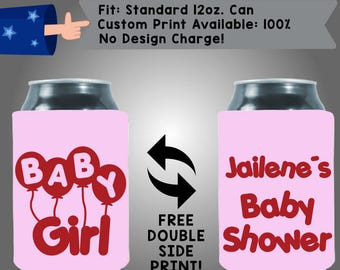 Baby Girl Name's Baby Shower Gender Reveal Collapsible Neoprene Baby Shower Cooler Double Side Print (BS111)