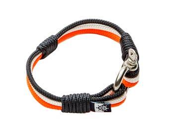 Shackle Anchor Rope Nautical Marine Bracelet ESCALADE black white orange perfect gift