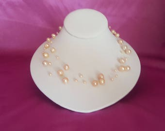 Peach Freshwater Pearl Illusion Necklace