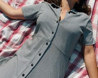 Vintage  Black and White Market Dress | Dreamy Button Down Liz by Liz Clairborne Maxi Gingham Dress | 100% Cotton 90s Button Up Ankle Dress