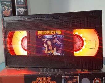 Retro VHS Pulp Fiction Night Light Table Lamp, Horror Movie . Order any movie! Great personal gift. Man Cave.